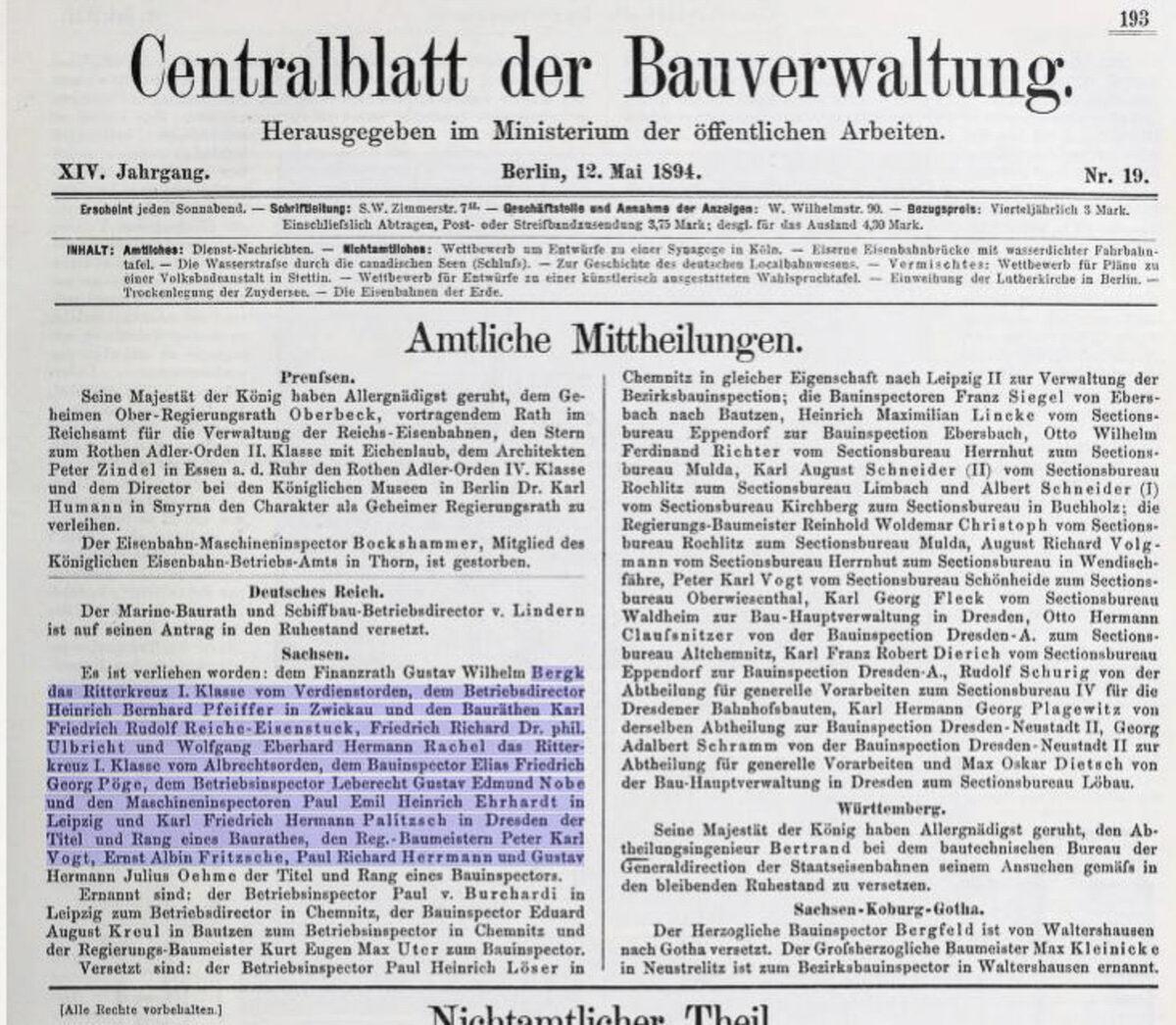 Centralblatt der Bauverwaltung 12.05.1894 / 20200308183405