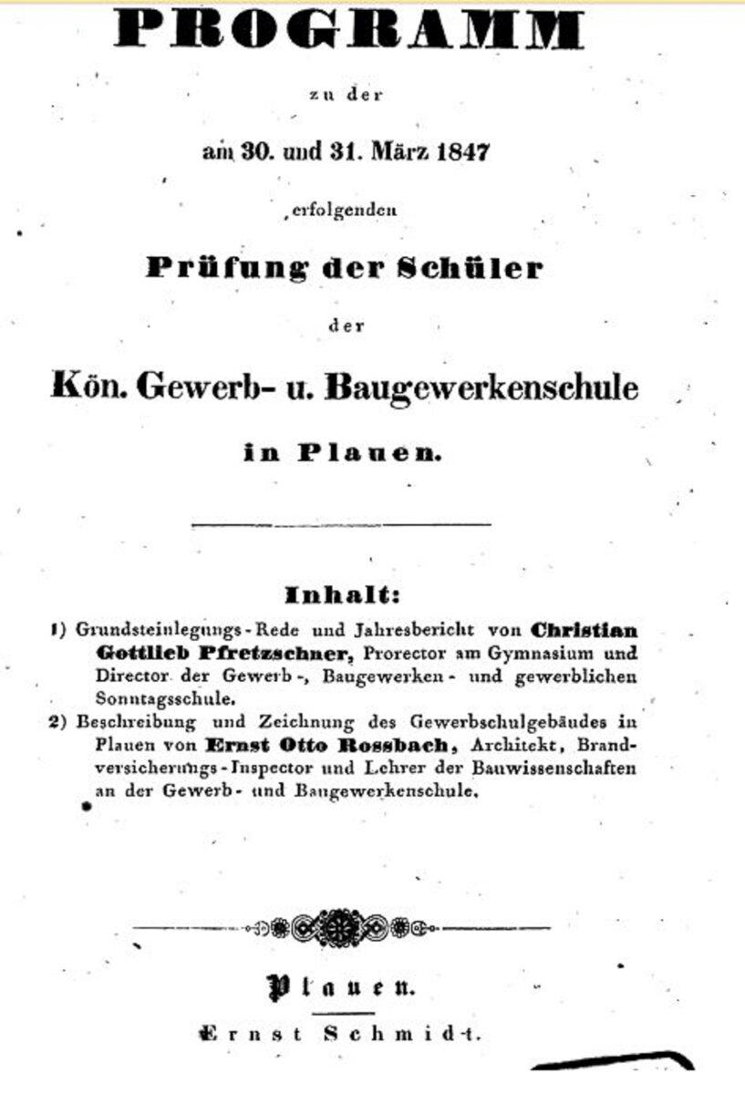 Prüfungsprogramm Königliche Gewerb- und Baugewerkenschule Plauen 03.1847 A / 20200308183417