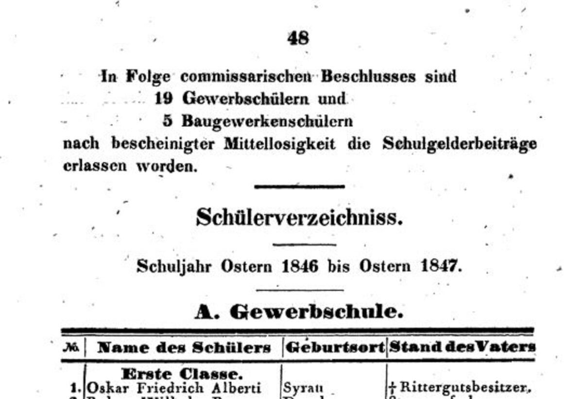 Prüfungsprogramm Königliche Gewerb- und Baugewerkenschule Plauen 03.1847 B / 20200308183418