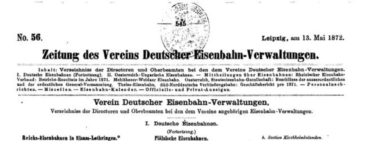 Zeitung des Vereins Deutscher Eisenbahn Verwaltungen 13.05.1872 A / 20200308183423