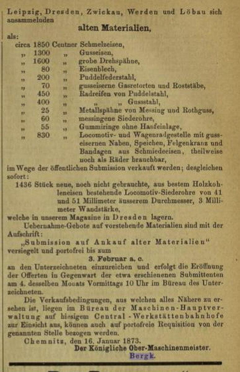 Zeitung des Vereins Deutscher Eisenbahn Verwaltungen 16.01.1873 C / 20200308183427