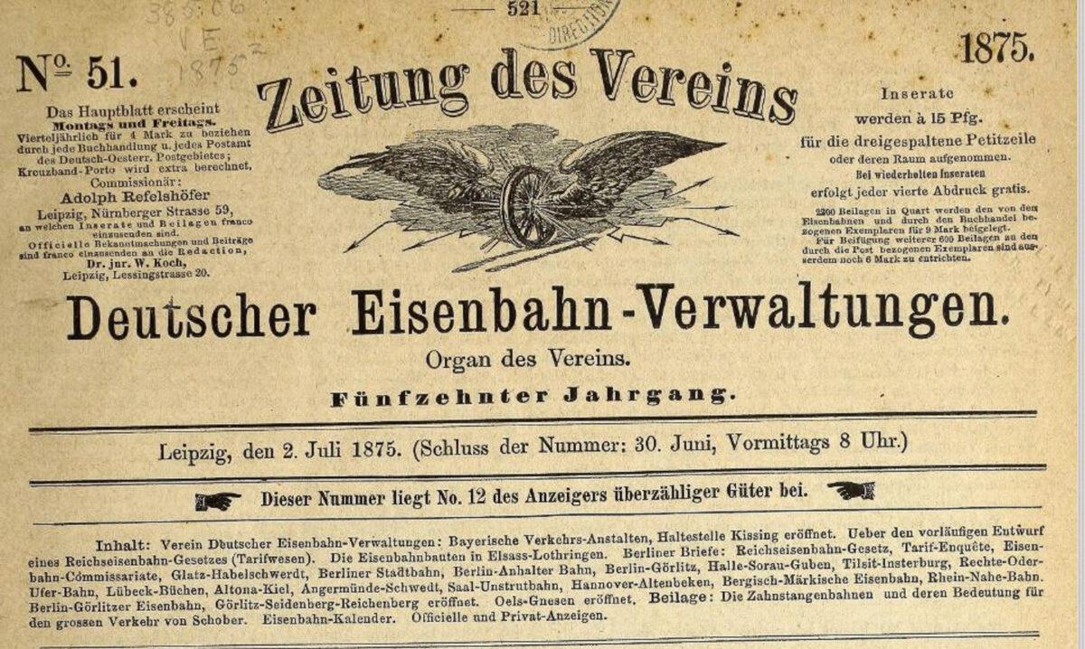 Zeitung des Vereins Deutscher Eisenbahn Verwaltungen 02.07.1875 A / 20200308183431