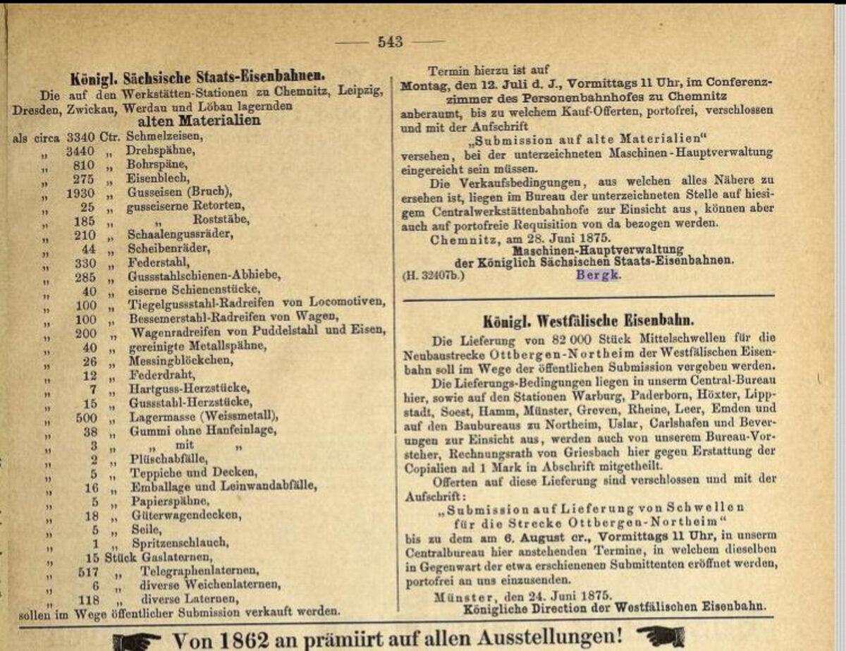 Zeitung des Vereins Deutscher Eisenbahn Verwaltungen 02.07.1875 B / 20200308183432