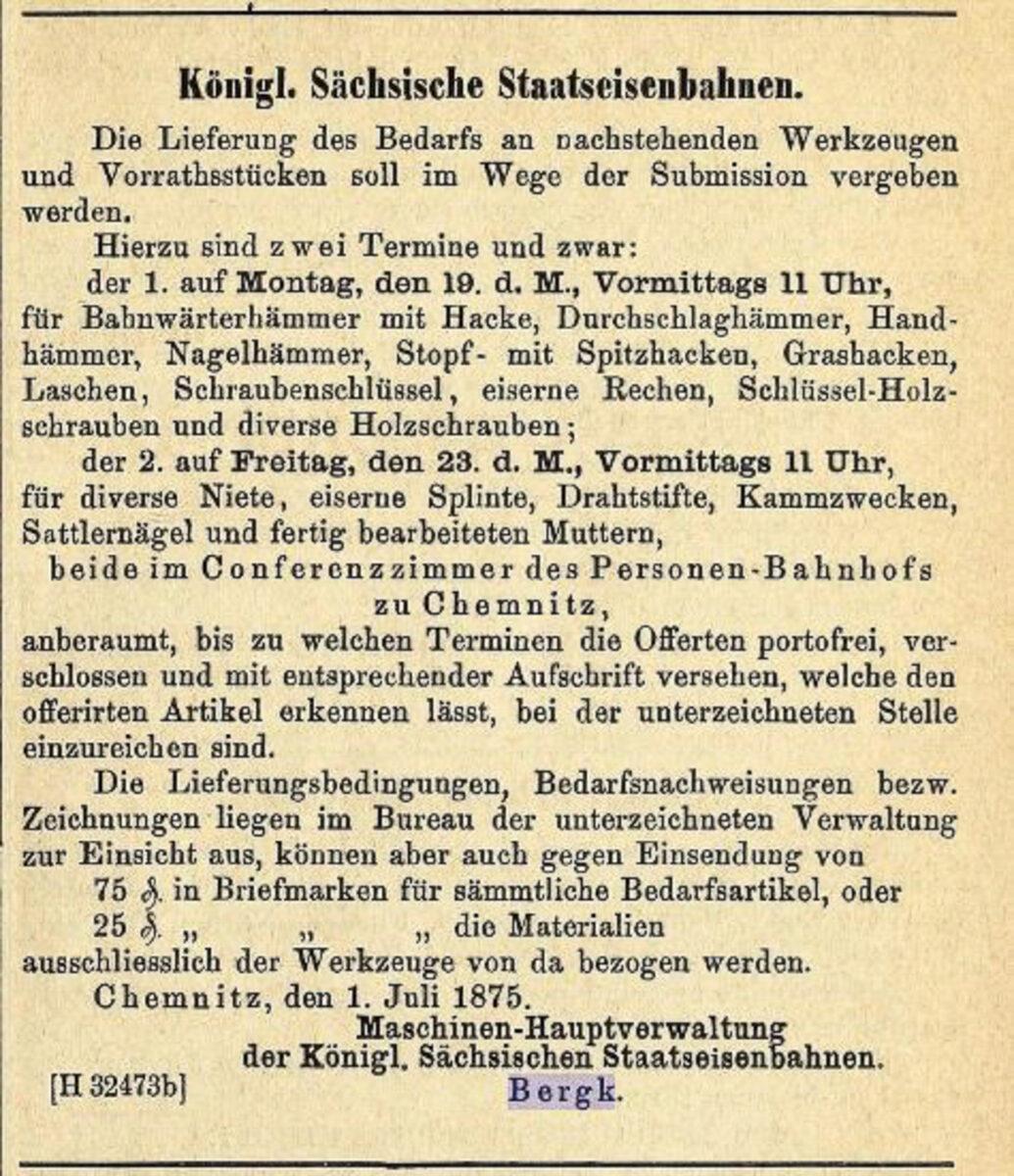 Zeitung des Vereins Deutscher Eisenbahn Verwaltungen 02.07.1875 C / 20200308183433