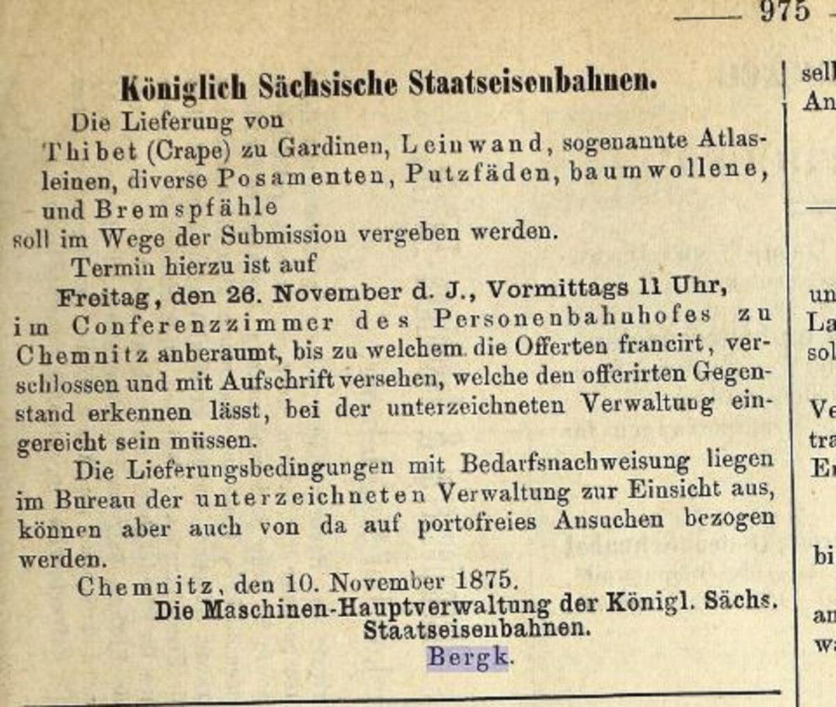 Zeitung des Vereins Deutscher Eisenbahn Verwaltungen 02.07.1875 G / 20200308183437