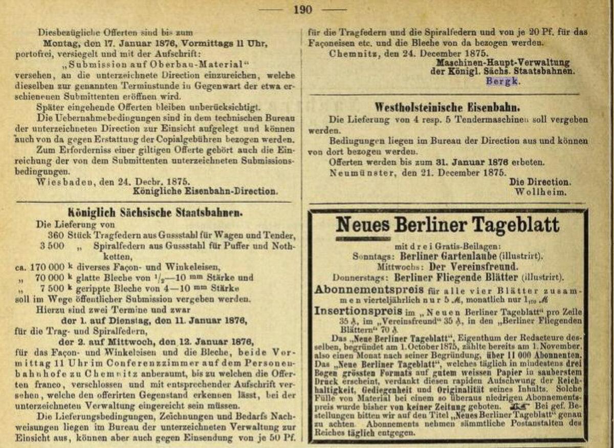 Zeitung des Vereins Deutscher Eisenbahn Verwaltungen 02.07.1875 K / 20200308183441