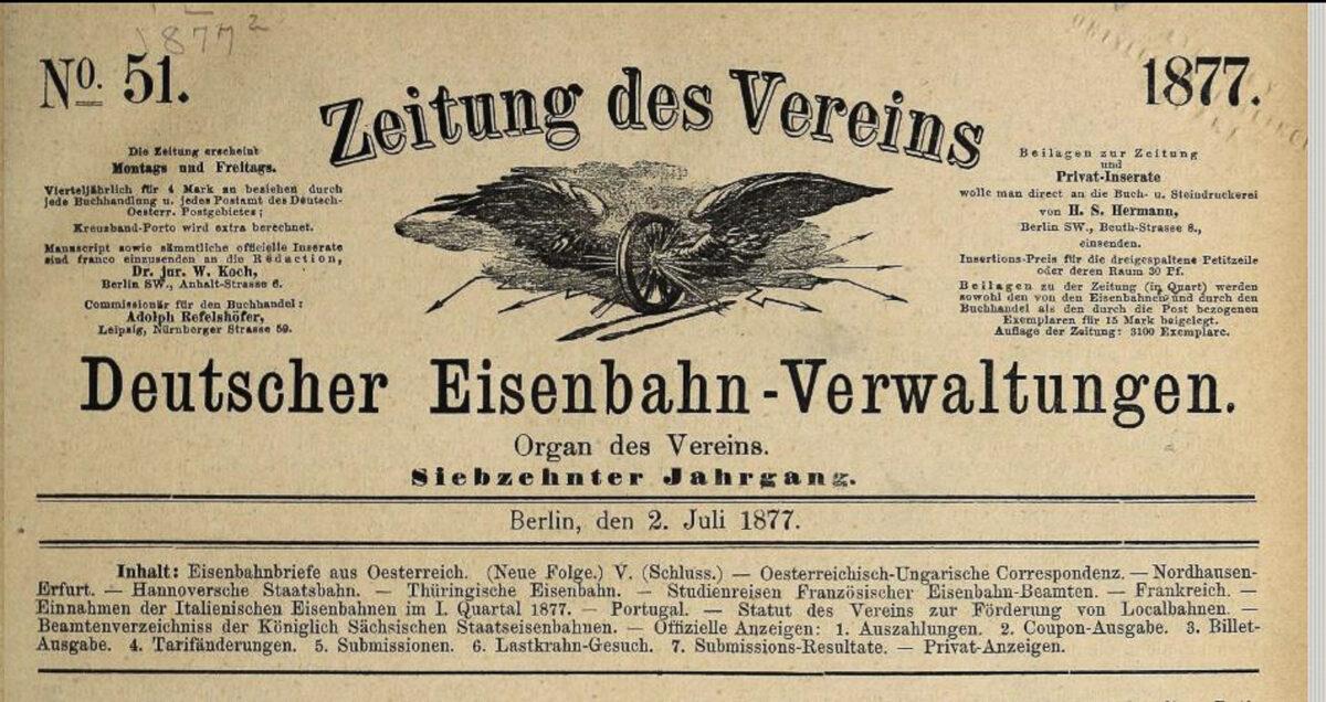 Zeitung des Vereins Deutscher Eisenbahn Verwaltungen 02.07.1877 A / 20200308183442