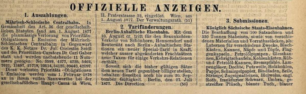 Zeitung des Vereins Deutscher Eisenbahn Verwaltungen 02.07.1877 C / 20200308183444