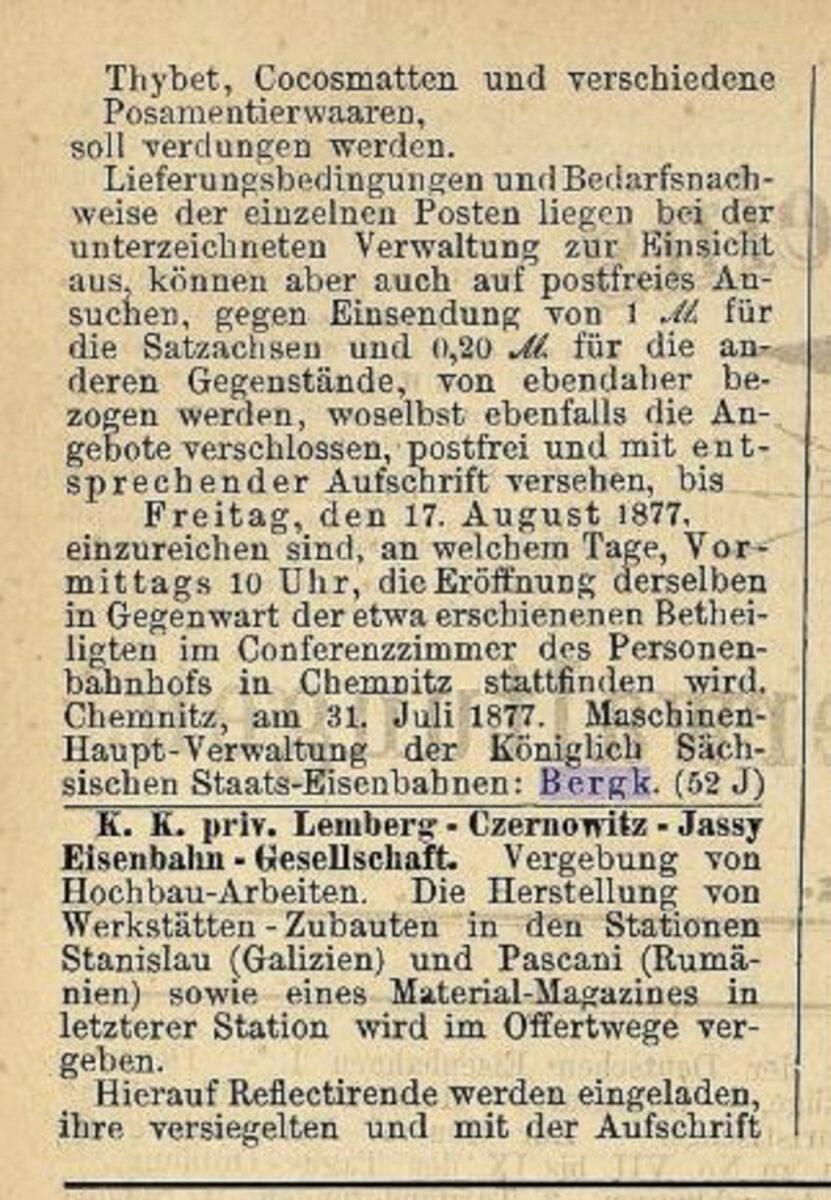 Zeitung des Vereins Deutscher Eisenbahn Verwaltungen 02.07.1877 D / 20200308183445
