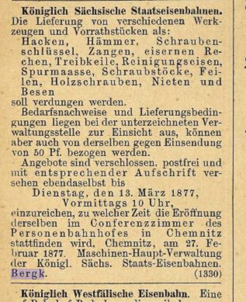 Zeitung des Vereins Deutscher Eisenbahn Verwaltungen 02.07.1877 G / 20200308183448